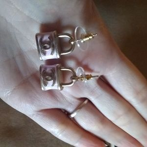 Pink Padlock Chanel Earrings